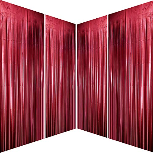 Burgundy Bachelorette Party Tinsel Foil Fringe Curtains for Wedding Anniversary Bridal Shower Happy Birthday Valentines Mothers Day Graduation Party Photo Booth Props Backdrops Decorations, 4pc
