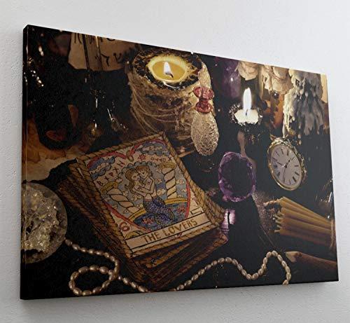 Deko Schmuck Kerzen Tarot Karten Leinwand Bild Wandbild Kunstdruck L0817 Größe 70 cm x 50 cm