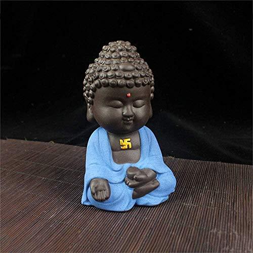 YsKYCA Estatua Escultura Decoración Estatuilla Artesanía Moderna Simple Bar Café Sala De Estar Artesanal De Figuras Coleccionables Buddha Car Morado Sand and Small Monk Small Sand Lindo Accesorio