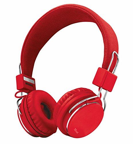 Trust Urban Ziva - Auriculares de Diadema Ajustable con micrófono Integrado, Color Rojo