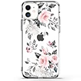 RXKEJI iPhone 11 Pro Case Clear Cute Girls Floral Design TPU Soft Slim Flexible Silicone Cover Phone Case for iPhone 11 Pro 5.8 inch 2019 - Flower Rose Pink