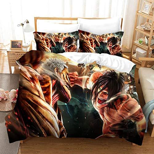 SAFTYBAY New Anime Attack on Titan Bed Duvet Cover Set Twin Full Queen King Size - 3D Attack on Titan Manga Merch Bedding Comforter Cover Set - 1 Duvet Cover + 2 Pillow Case for Fans (JUREN7,Queen)