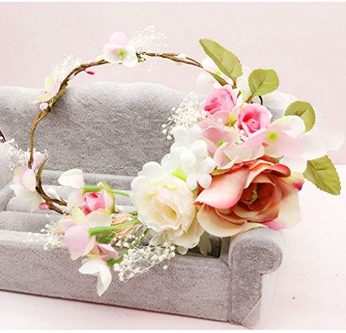 ZGP Couronne de Coiffure Couronne de Fleurs, Bandeau Fleur Garland Fête de Mariée à la Main à la Main Fait Bande Bandeau Bracelet Bande de Cheveux (Couleur : B)