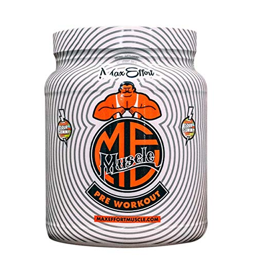 Max Effort Muscle, Pre Workout, Clinically Tested Ingredients, Formulated with Carnosyn and Creapure (30 Servings, Sour Gummy)