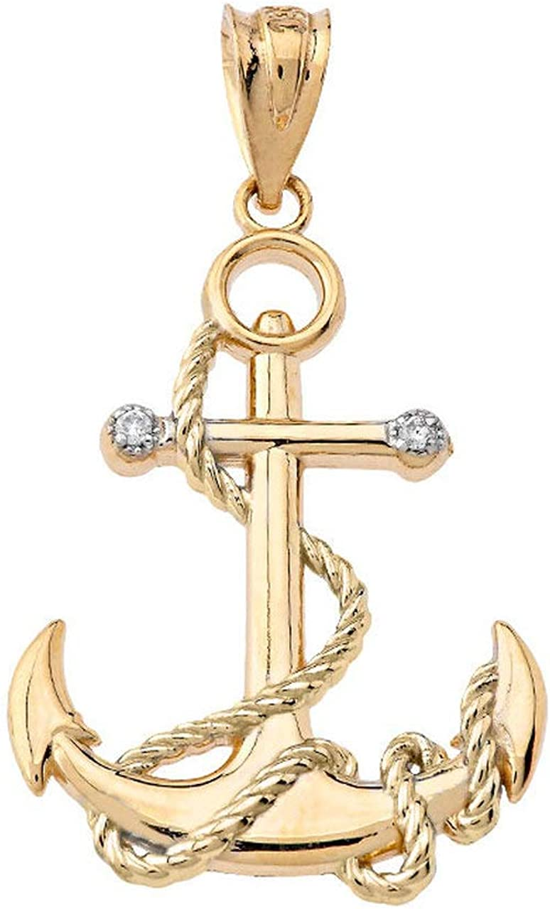 Certified 10k Gold Diamond-Accented Nautical Rope Fouled Anchor Charm Pendant