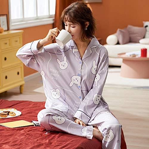 Wenhua Piyama de Mujer, Pijamas Finos de algodón de otoño e Invierno para Mujer, D14011_XL, Piyama de Mujer Invierno
