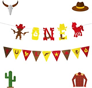 LaVenty Set of 2 Cowboy First Birthday Banner Boots boy Banner Little Cowboy Banner Western Theme birthday Decoration Cowboy First Birthday Cowboy Party decoration