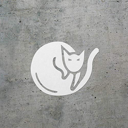 USC DECALS Cat Sleeping (White) (Set of 2) Premium Waterproof Vinyl Decal Stickers for Laptop Phone Accessory Helmet Car Window Bumper Mug Tuber Cup Door Wall Decoration