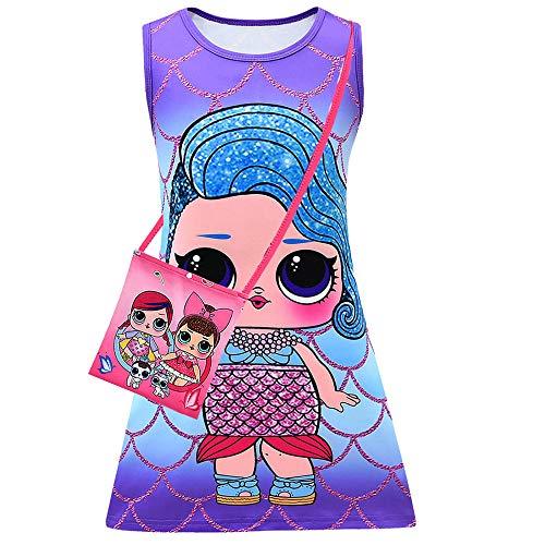 Fashion Girls Summer LOL Surprise Swim Dress Flower Print Butterfly Unicorn Dolls Bikini Dress (style03, 120(7-8Years))