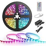 LE Tira LED, 5m 300 LED 5050 Multicolor RGB Mando a Distancia Marca GS, para Techo, Escaleras, Caravana, Muebles, etc. Adaptador incluido