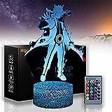 Uzumaki G Naruto Luces 3D para niños 16 Cambio de Color Lámpara Decoración con Remote & Smart Touch, Navidad y regalos de cumpleaños