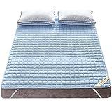 敷きパッド 綿100% 丸洗いできる 防ダニ 抗菌防臭 吸汗 速乾 ズレ防止ゴムバンド付き ベッドパッド マットレス・パッド ブルー ダブル・140X200cm