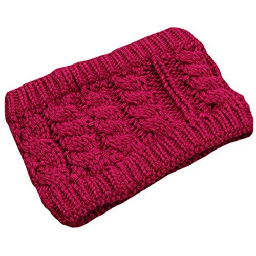 Les filles d'hiver tricoté bandeau tressé oreille plus chaud, Rose rouge