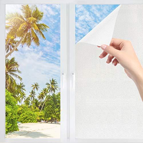 GothicBride Fensterfolie Selbsthaftend Blickdicht Fenster Sichtschutzfolie Anti-UV ohne Klebefolie Für Büro Badzimmer Glastüren(45x200cm)