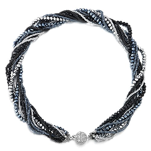 iMETACLII Statement Halsketten Anhänger Multi-Schichten Perlen Kristall Geflochtene Kette Halsband Choker Magnetverschluss Partei