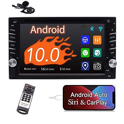 Radio de coche con pantalla táctil Android Auto Auto Car Stereo Carplay Doble Din Android 10 Bluetooth Reproductor de DVD para coche...