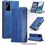 iPucool Handyhülle für Samsung Galaxy S20 FE Hülle Premium Leder Flip Klappbare Stoßfeste Magnetische [Standfunktion] [Kartenfach][Panzerglas Schutzfolie] Schutzhülle für Galaxy S20 FE 5G Tasche