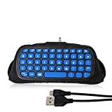 PS4 Controller Keyboard, 2.4G Wireless Rechargeable Online Gaming Live Chat Message Chatpad Keypad with 3.5mm Audio Aux-in Headset for Sony Playstation 4, PS4 Slim, PS4 Pro (Controller Not Included)
