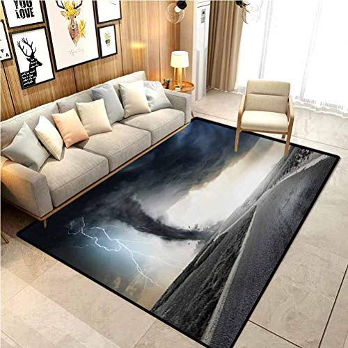 Nature Classroom Rug Porch Rug Black Tornado Funnel Gas and Thunder Rolling on The Road Fume Disaster Monochrome Print for Sofa/Living Room/Dining Room/Bedroom Grey 6.5 x 8 Ft