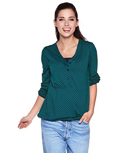 Be! Mama Umstandsmode Stillmode Umstandsshirt, Stillshirt mit Gummibund unten, Modell: Flora, grün, L