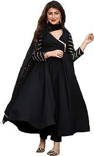 Monika Silk Mill Women's Black Cotton Silk Embroidered Semi Stitched Anarkali Salwar Suit - Free Size