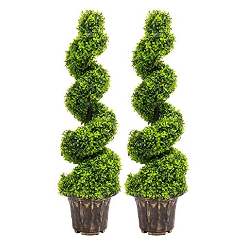 The Fellie Artificial Potted Plant Spiral Tree 2 Pack, 4ft (120CM) Home Office Decorative Fake Plant
