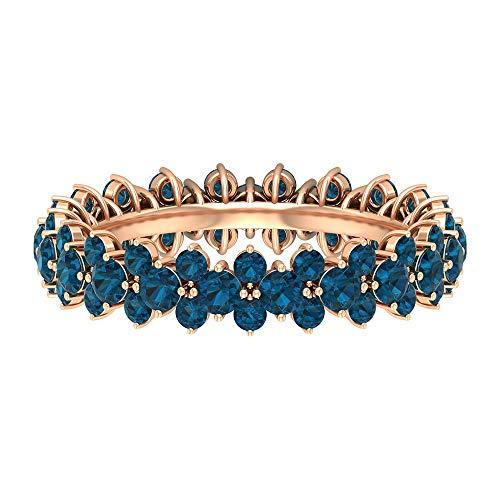 Rosec Jewels 10 quilates oro rosa redonda Blue Topacio azul - Londres