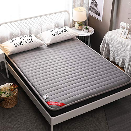 MYYU Tatami Mattress Floor Double Single Knitted Cotton Futon Mattresses Japanese Student Dormitory Folding Crawling Ground Pad Soft And Breathable Lazy Bed,Gray,150 * 200cm