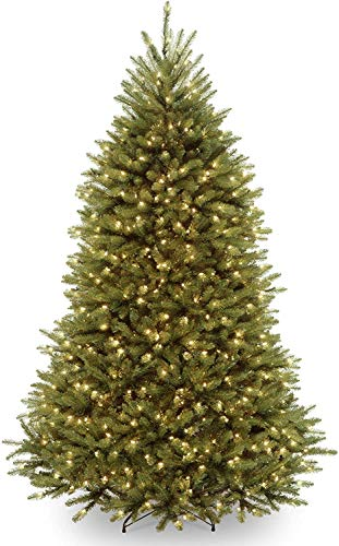 National Tree Company Pre-lit Artificial Christmas Tree | Includes Pre-strung Multi-Color LED Lights and Stand | Dunhill Fir Tree - 7 ft, Green