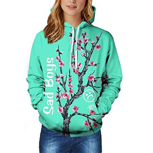 ZCMWY Hoodies für Männer Superdry Jungen Hoodies Pfirsichblüte Grün Sweatshirt Tasche 3D Druck Pullover Frauen XXL