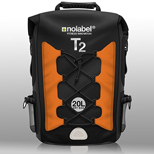 NO LABEL Roll Top Backpack Waterproof - T2 Transition Bag - Sports Rucksack - Running - Cycling - Black/Orange
