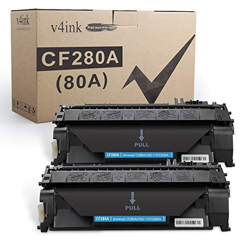 V4INK 2-Pack Compatible Toner Cartridge Replacement for HP 80A CF280A Toner Cartridge Black Ink for use in HP Laserjet Pro 400 M401N M401DN M401DNE M401DW, HP LJ Pro 400 MFP M425DN M425DW Printer