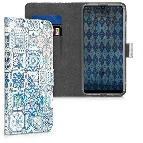 kwmobile Carcasa Compatible con Huawei P Smart (2019) - Funda de Cuero sintético Azulejos Cuadrados - con Tarjetero
