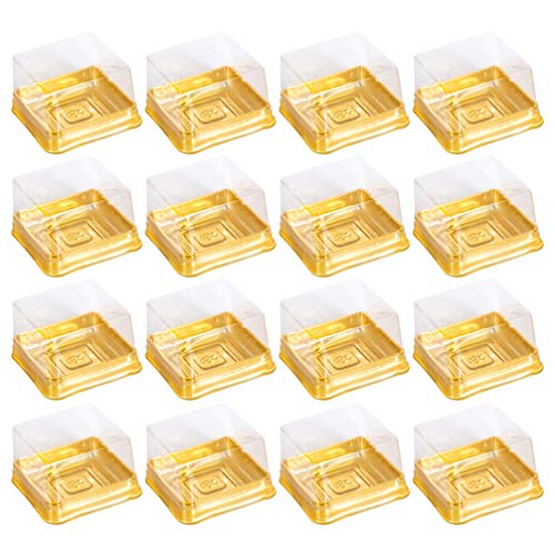 Cabilock 100pcs Mini Cake Box Clear Plastic Cookies Muffins Dome Box Mooncake Box with with Clear Dome for Wedding Birthday Christmas Party Supplies Gold M