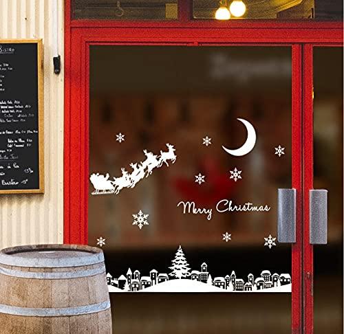 HUYHUY Bricolaje Santa Claus Moonlight Town Navidad Etiqueta De La Pared Para Ventana De Vidrio Escaparate Festival Decoración Del Hogar Calcomanías Murales Papel Tapiz Pegatinas De Año Nuevo