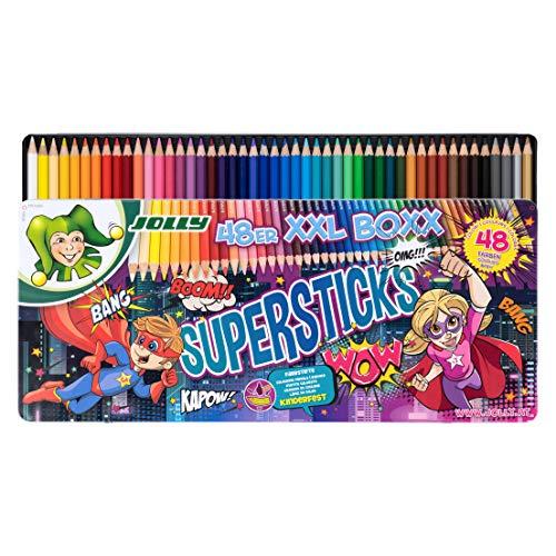JOLLY Buntstifte Supersticks Kinderfest XXL Box Version 1 | Bruchfeste & ungiftige Farbstifte | Made in Austria | 48 Stifte