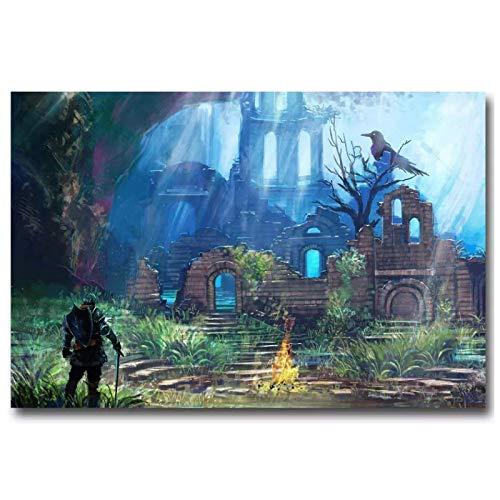Dark Souls 2 3 póster de videojuego caliente impresiones lienzo cuadro de pared para la decoración de la habitación del hogar-24x36 pulgadas sin marco