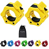 Strainho Olympic Weight Bar Clips - 2 inch Barbell Collars - Quick Release Olympic Barbell Clamp for Weightlifting, Olympic Lifts and Strength Training (Yellow)