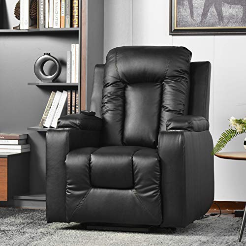 (Sold out, please do not buy )Power Lift Recliner Chair Electric Riser Recliner for Elderly Leather Sofa Recliner Armchair Living Room Chair with Side Pocket and Cup Holders