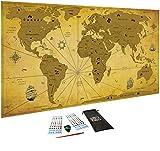 Carte du monde à gratter Vintage, XXL (82 x 43 cm)/ Papier couché extra épais 300 g/m2, laminé avec un film protecteur/ Inclus Accessoires et tube cadeau, de WIDETA