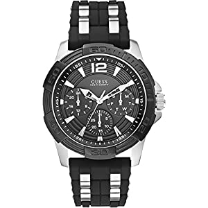 GUESS W0366G1 Men's Iconic Black,Stainless Steel Case,Silicone/Rubber