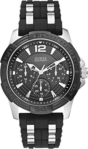 GUESS W0366G1 Men's Iconic Black,Stainless Steel Case,Silicone/Rubber Strap,Multi-Function 100m WR