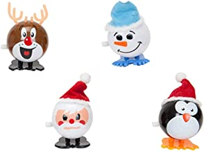 4 x 7cm Wind Up Christmas Character Novelty Toy - Stocking Fillers - Christmas Party Bags