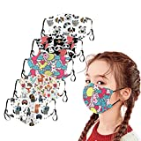 5 pezzi paradenti multifunzione 3D Cartoon stampa Animal Print Maschera in tessuto di cotone lavabile bocca e naso copertura bandana bandana (A)