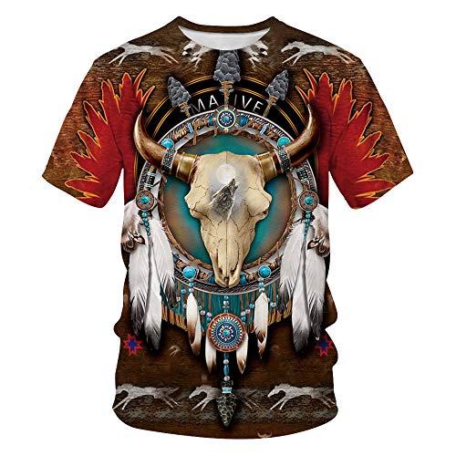 LYLLXL 3D T-Shirt,Indianer Bull Schädel Federdruck Braun Sommer Atmungsaktive Streetwear Sport Gym Round Neck Paar Kurzarm Tops Für Indoor Outdoor, L.