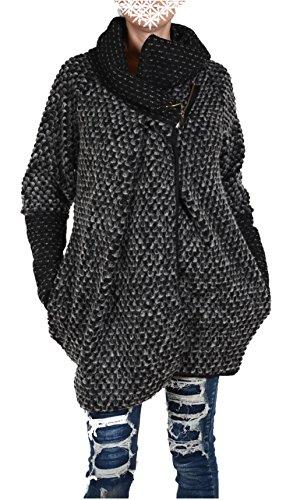Italy Donna dames lagenlook wol poncho ballon jas blazer winter overgang trui gebreid vest 36 38 40 42 44 S M L XL zwart kort mantel