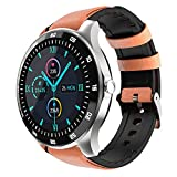 KINGXBAR GPS Smart Watch with Leather Strap, 1.3' Full Touch Screen Fitness Tracker Smartwatch with Sleep Monitor/Heart Rate Monitor IP68 Waterproof Compatible with Android and iOS for Women and Men