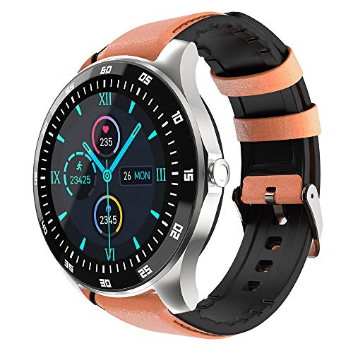 """KINGXBAR GPS Smart Watch with Leather Strap, 1.3"""" Full Touch Screen Fitness Tracker Smartwatch with Sleep Monitor/Heart Rate Monitor IP68 Waterproof Compatible with Android and iOS for Women and Men"""