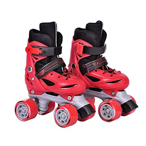 YUANYI Verstellbare Rollschuhe PVC-Rad Triple Lock Mesh Atmungsaktiver Rollschuh Für Anfänger Kleinkinder Kinder Jungen Jungen Mädchen Inline-Skates,Red-M-Set1