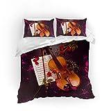 Sticker Superb Elegante Musik Violine Design Bettwäsche Set, Rose Geige Element Schmetterling Element lila Weiß Schwarz Bettbezug + Kissenbezug (Geige A, 140 x 200 cm)